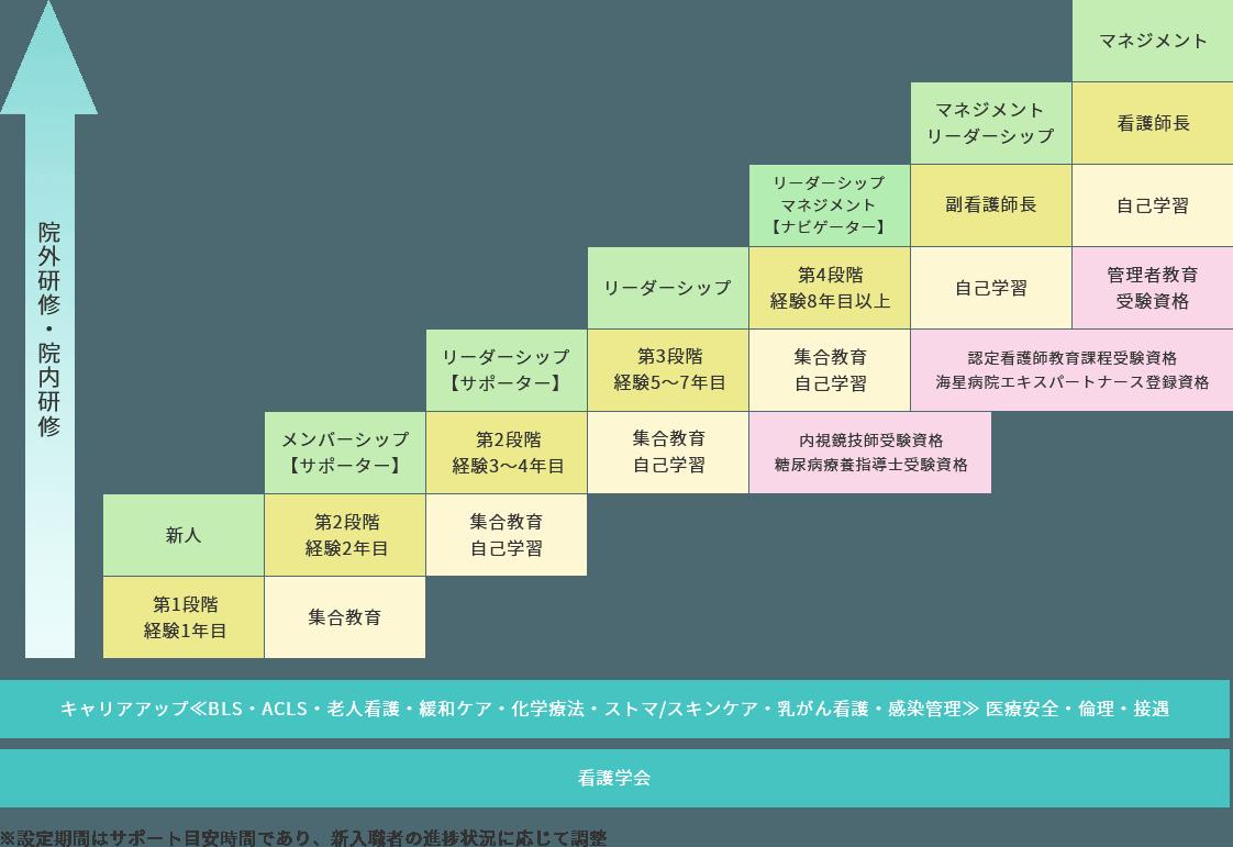 神戸海星病院看護部 キャリア開発プログラムのイメージ図
